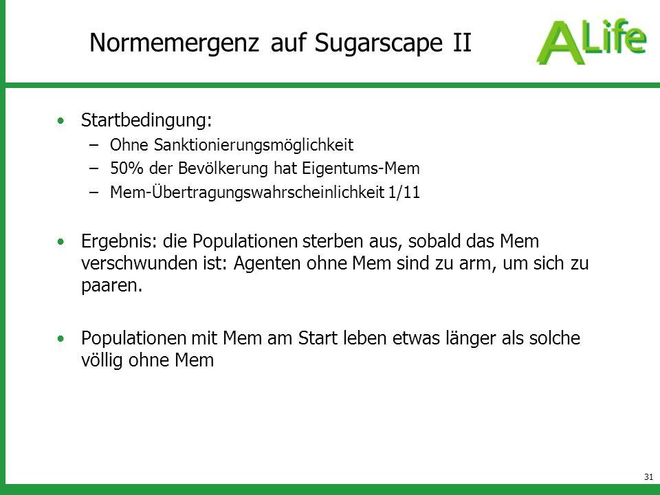 31 Normemergenz auf Sugarscape II Startbedingung: –Ohne Sanktionierungsmöglichkeit –50% der Bevölkerung hat Eigentums-Mem –Mem-Übertragungswahrscheinl