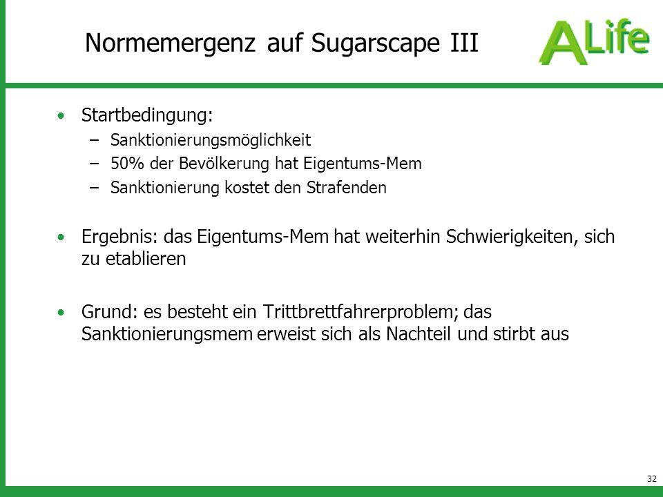32 Normemergenz auf Sugarscape III Startbedingung: –Sanktionierungsmöglichkeit –50% der Bevölkerung hat Eigentums-Mem –Sanktionierung kostet den Straf