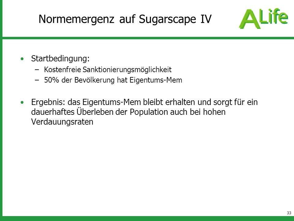 33 Normemergenz auf Sugarscape IV Startbedingung: –Kostenfreie Sanktionierungsmöglichkeit –50% der Bevölkerung hat Eigentums-Mem Ergebnis: das Eigentu