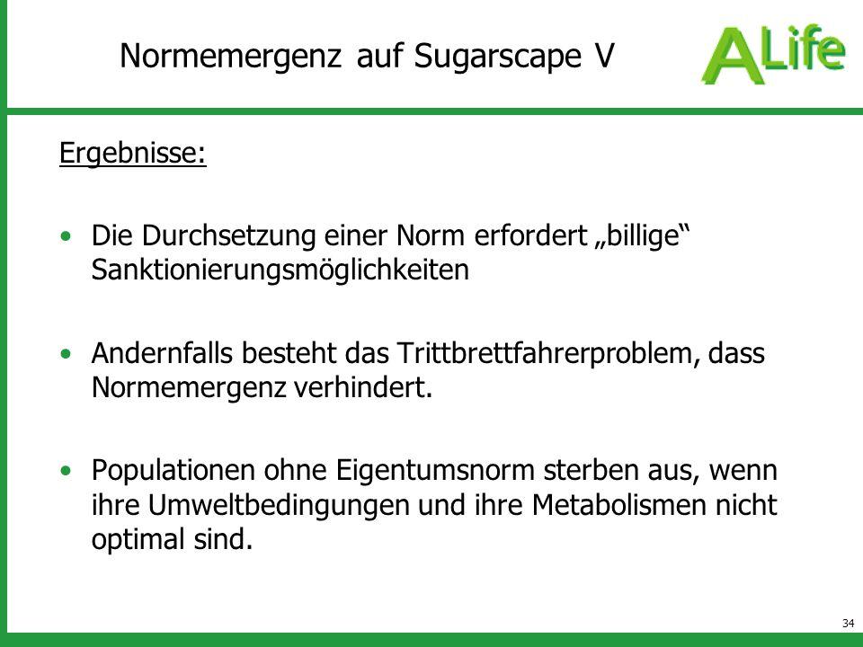 34 Normemergenz auf Sugarscape V Ergebnisse: Die Durchsetzung einer Norm erfordert billige Sanktionierungsmöglichkeiten Andernfalls besteht das Trittb