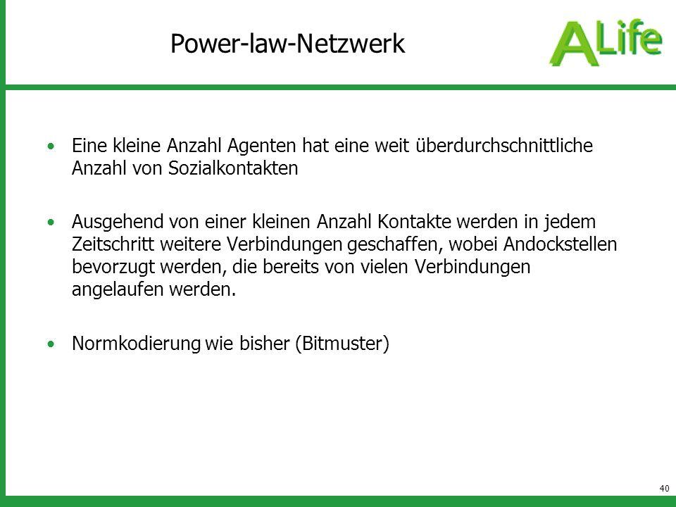 40 Power-law-Netzwerk Eine kleine Anzahl Agenten hat eine weit überdurchschnittliche Anzahl von Sozialkontakten Ausgehend von einer kleinen Anzahl Kon