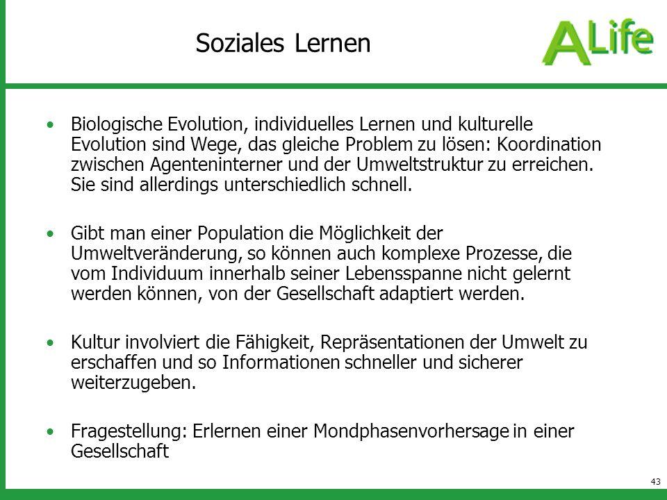 43 Soziales Lernen Biologische Evolution, individuelles Lernen und kulturelle Evolution sind Wege, das gleiche Problem zu lösen: Koordination zwischen