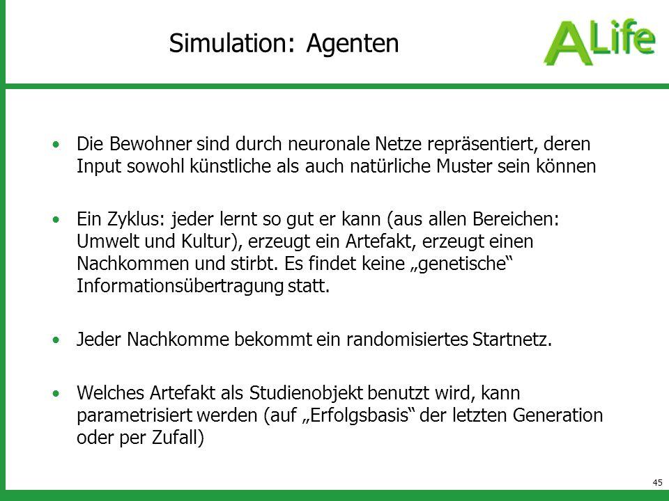 45 Simulation: Agenten Die Bewohner sind durch neuronale Netze repräsentiert, deren Input sowohl künstliche als auch natürliche Muster sein können Ein