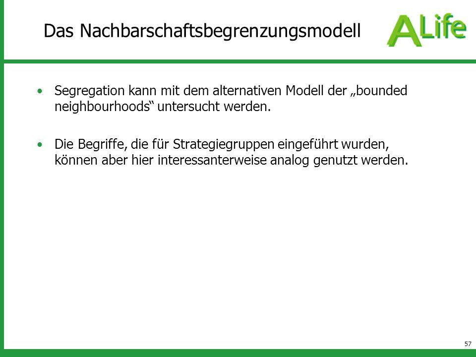 57 Das Nachbarschaftsbegrenzungsmodell Segregation kann mit dem alternativen Modell der bounded neighbourhoods untersucht werden. Die Begriffe, die fü