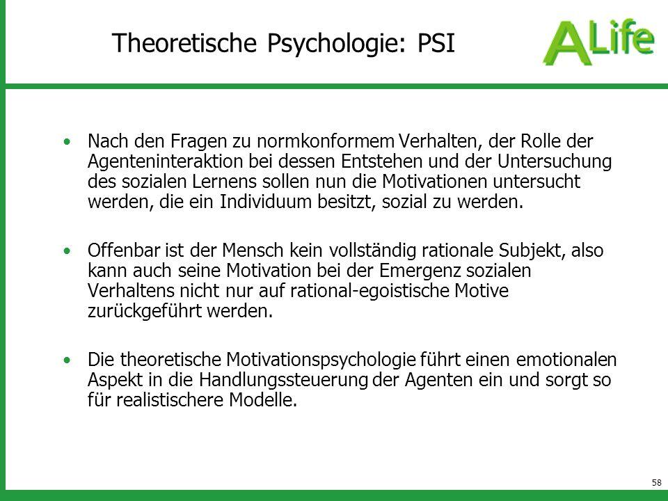 58 Theoretische Psychologie: PSI Nach den Fragen zu normkonformem Verhalten, der Rolle der Agenteninteraktion bei dessen Entstehen und der Untersuchun