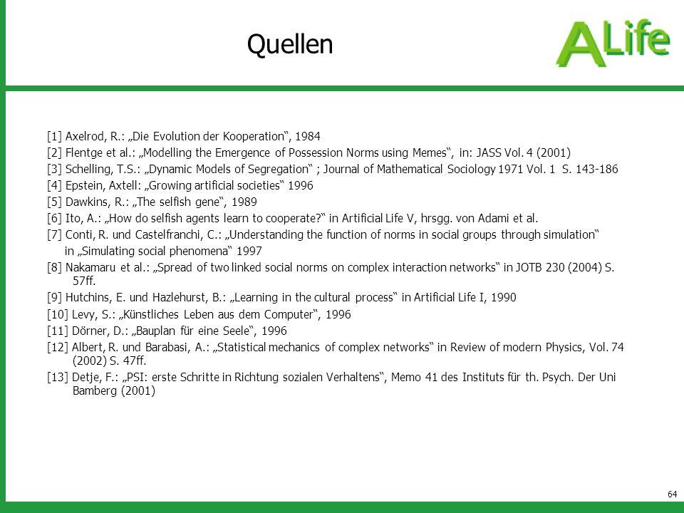 64 Quellen [1] Axelrod, R.: Die Evolution der Kooperation, 1984 [2] Flentge et al.: Modelling the Emergence of Possession Norms using Memes, in: JASS