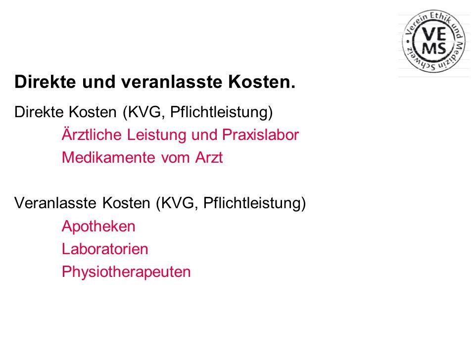 Direkte und veranlasste Kosten. Direkte Kosten (KVG, Pflichtleistung) Ärztliche Leistung und Praxislabor Medikamente vom Arzt Veranlasste Kosten (KVG,