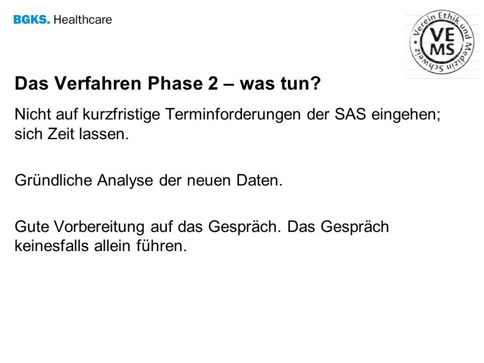 Das Verfahren Phase 2 – was tun? Nicht auf kurzfristige Terminforderungen der SAS eingehen; sich Zeit lassen. Gründliche Analyse der neuen Daten. Gute