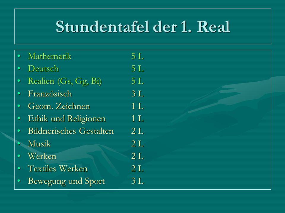 Stundentafel der 1. Real Mathematik5 LMathematik5 L Deutsch 5 LDeutsch 5 L Realien (Gs, Gg, Bi)5 LRealien (Gs, Gg, Bi)5 L Französisch3 LFranzösisch3 L