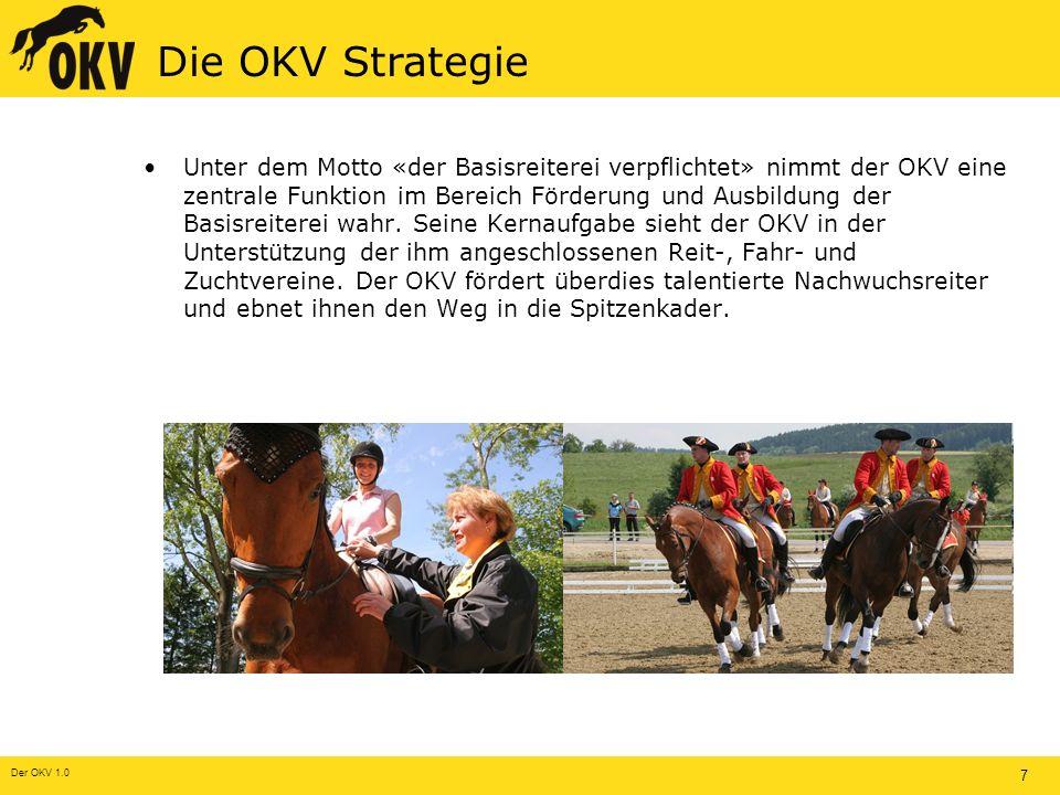 Der OKV 1.0 7 Die OKV Strategie Unter dem Motto «der Basisreiterei verpflichtet» nimmt der OKV eine zentrale Funktion im Bereich Förderung und Ausbildung der Basisreiterei wahr.