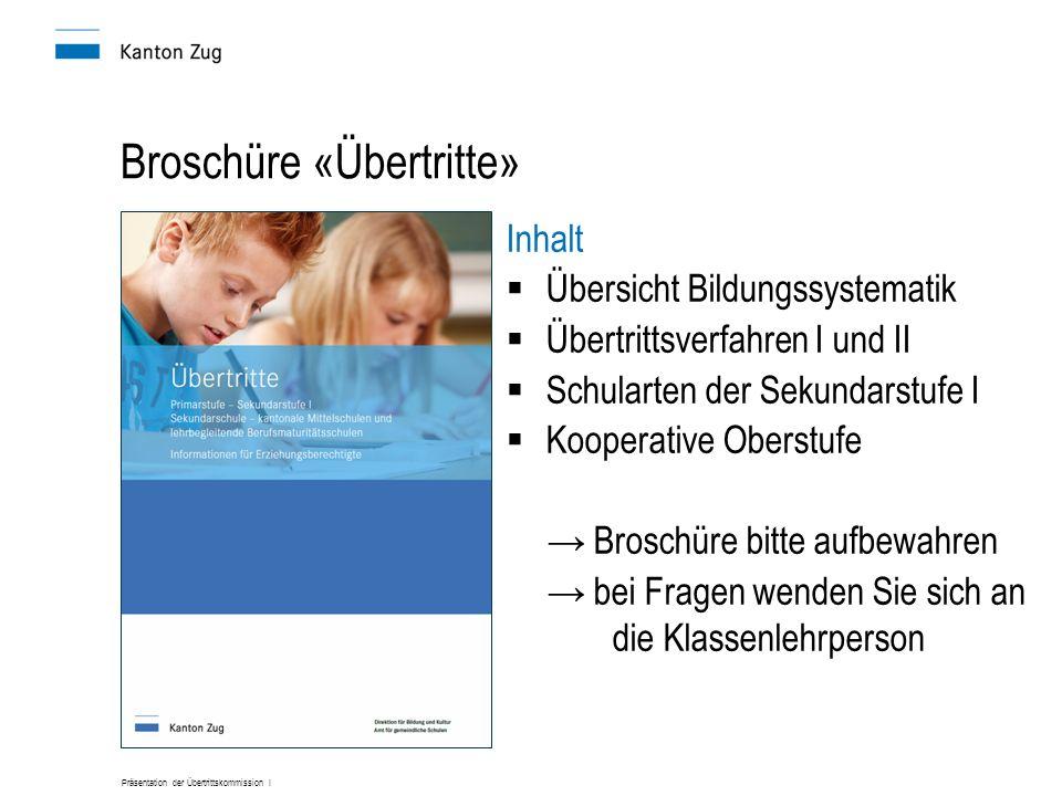 Präsentation der Übertrittskommission I Broschüre «Übertritte» Inhalt Übersicht Bildungssystematik Übertrittsverfahren I und II Schularten der Sekunda