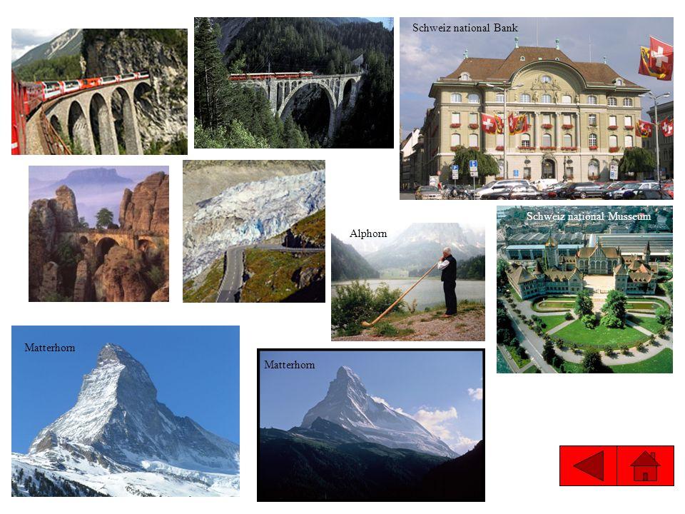 Schweiz national Musseum Alphorn Schweiz national Bank Matterhorn