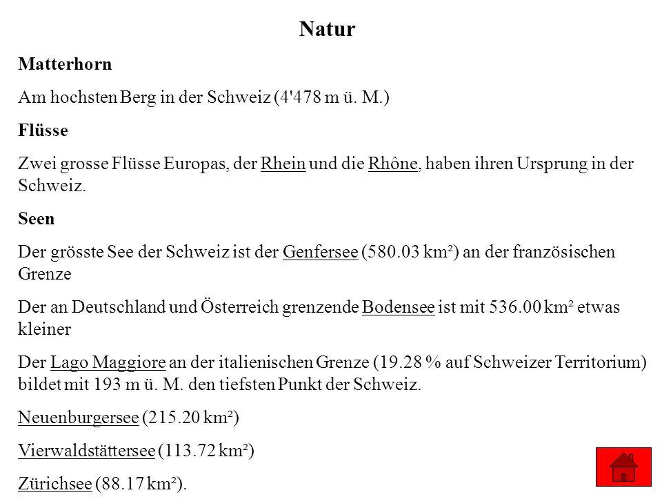 Am hochsten Berg in der Schweiz (4'478 m ü. M.) Flüsse Zwei grosse Flüsse Europas, der Rhein und die Rhône, haben ihren Ursprung in der Schweiz. Seen
