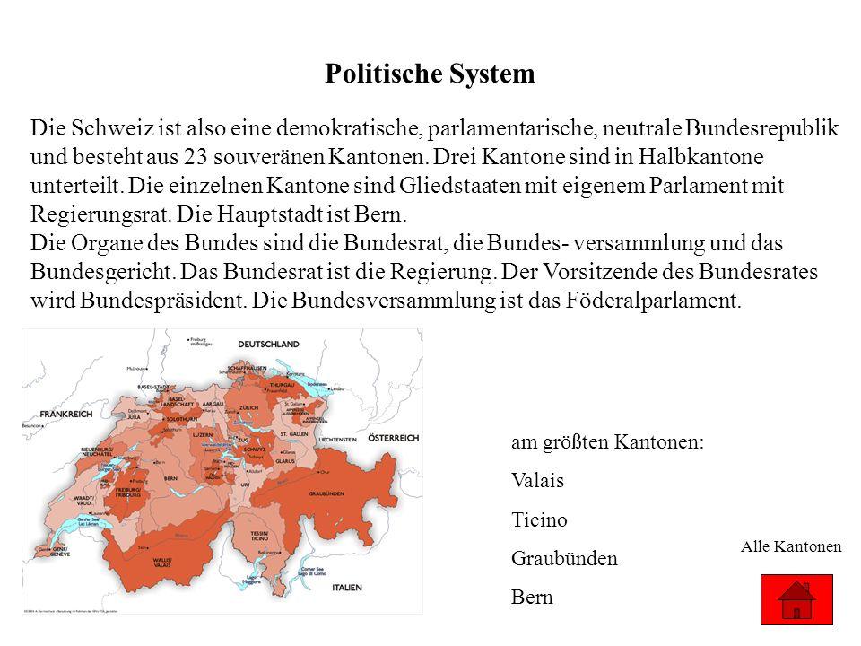Politische System am größten Kantonen: Valais Ticino Graubünden Bern Alle Kantonen Die Schweiz ist also eine demokratische, parlamentarische, neutrale
