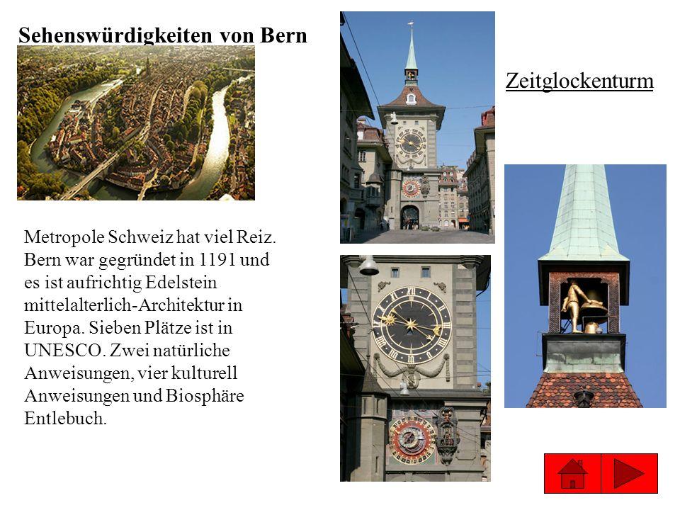 Sehenswürdigkeiten von Bern Zeitglockenturm Metropole Schweiz hat viel Reiz. Bern war gegründet in 1191 und es ist aufrichtig Edelstein mittelalterlic