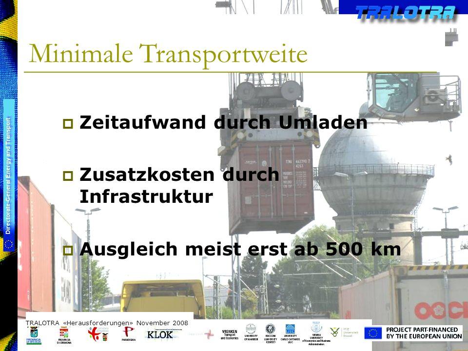 TRALOTRA Workshop – Brussels 3/10/08 Minimale Transportweite TRALOTRA «Herausforderungen» November 2008 Zeitaufwand durch Umladen Zusatzkosten durch I