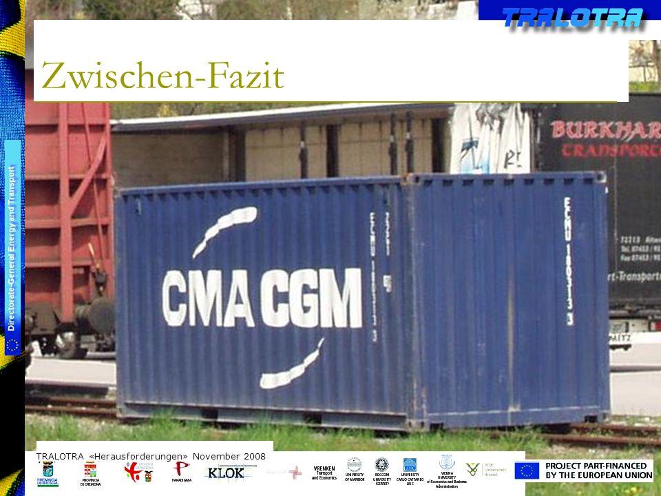 TRALOTRA Workshop – Brussels 3/10/08 Zwischen-Fazit TRALOTRA «Herausforderungen» November 2008