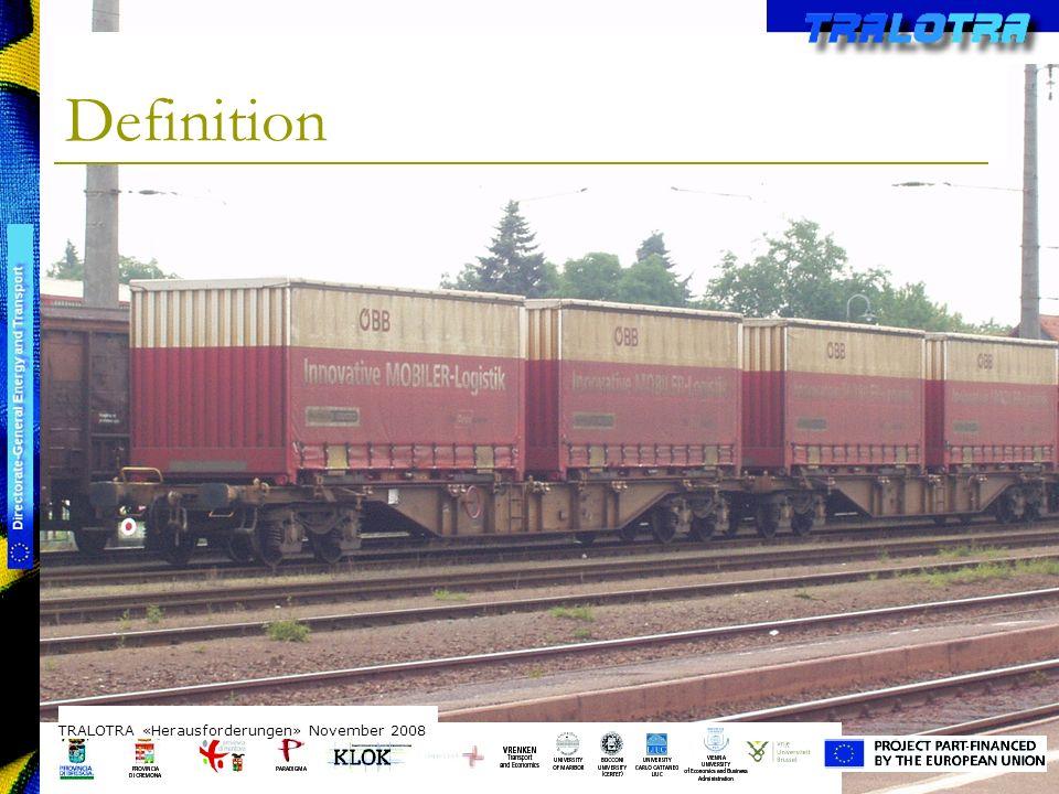 TRALOTRA Workshop – Brussels 3/10/08 Intermodalität: Wechsel zwischen Lkw und Zug oder Schiff, Mit standardisierten Transportbehältern.