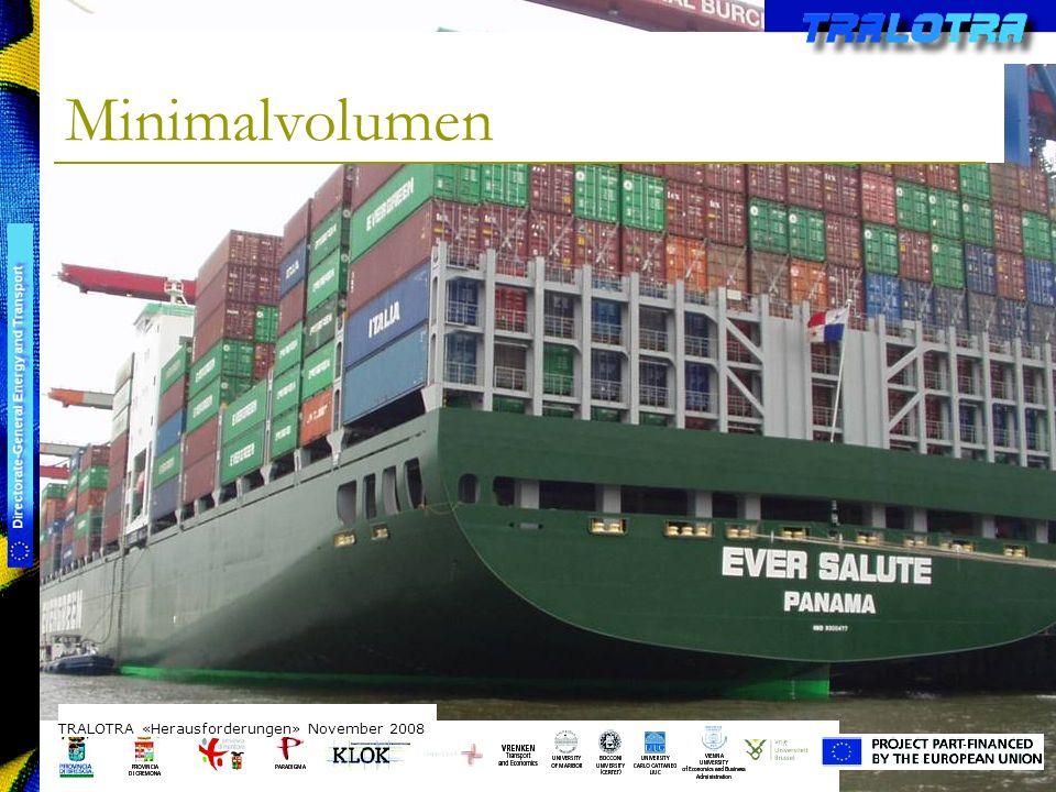 TRALOTRA Workshop – Brussels 3/10/08 Minimalvolumen TRALOTRA «Herausforderungen» November 2008 Intermodale Transportvolumina: Zug: ca.