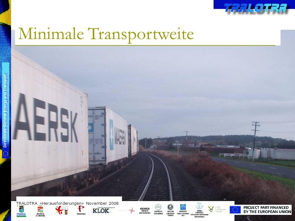 TRALOTRA Workshop – Brussels 3/10/08 Minimale Transportweite TRALOTRA «Herausforderungen» November 2008 Zeitaufwand durch Umladen Zusatzkosten durch Infrastruktur Ausgleich meist erst ab 500 km