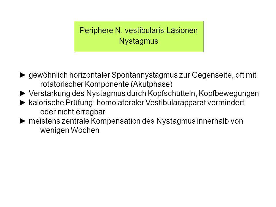 Periphere N. vestibularis-Läsionen Nystagmus gewöhnlich horizontaler Spontannystagmus zur Gegenseite, oft mit rotatorischer Komponente (Akutphase) Ver