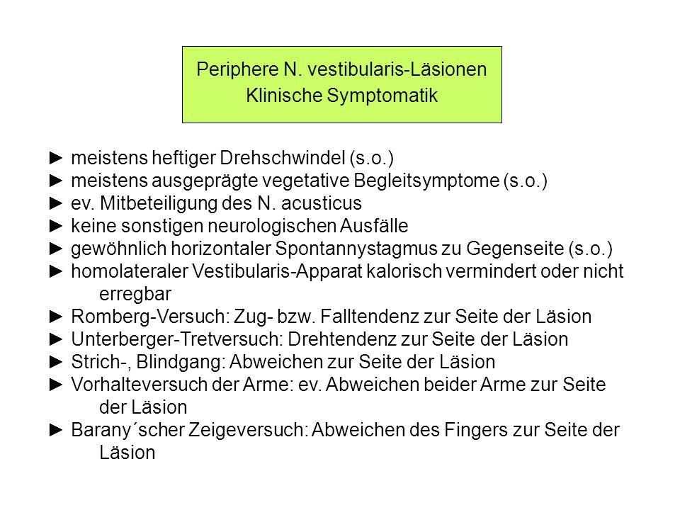 Periphere N. vestibularis-Läsionen Klinische Symptomatik meistens heftiger Drehschwindel (s.o.) meistens ausgeprägte vegetative Begleitsymptome (s.o.)