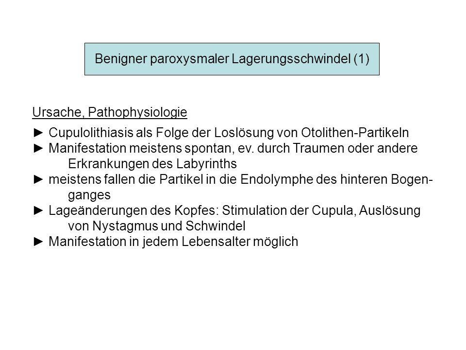 Benigner paroxysmaler Lagerungsschwindel (1) Ursache, Pathophysiologie Cupulolithiasis als Folge der Loslösung von Otolithen-Partikeln Manifestation m