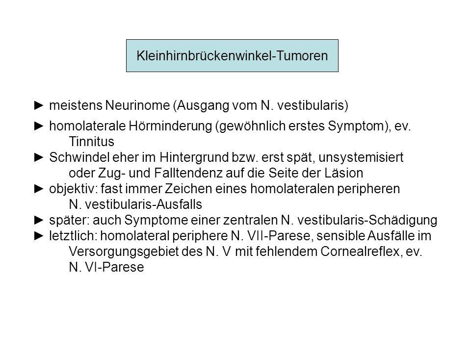 Kleinhirnbrückenwinkel-Tumoren meistens Neurinome (Ausgang vom N. vestibularis) homolaterale Hörminderung (gewöhnlich erstes Symptom), ev. Tinnitus Sc