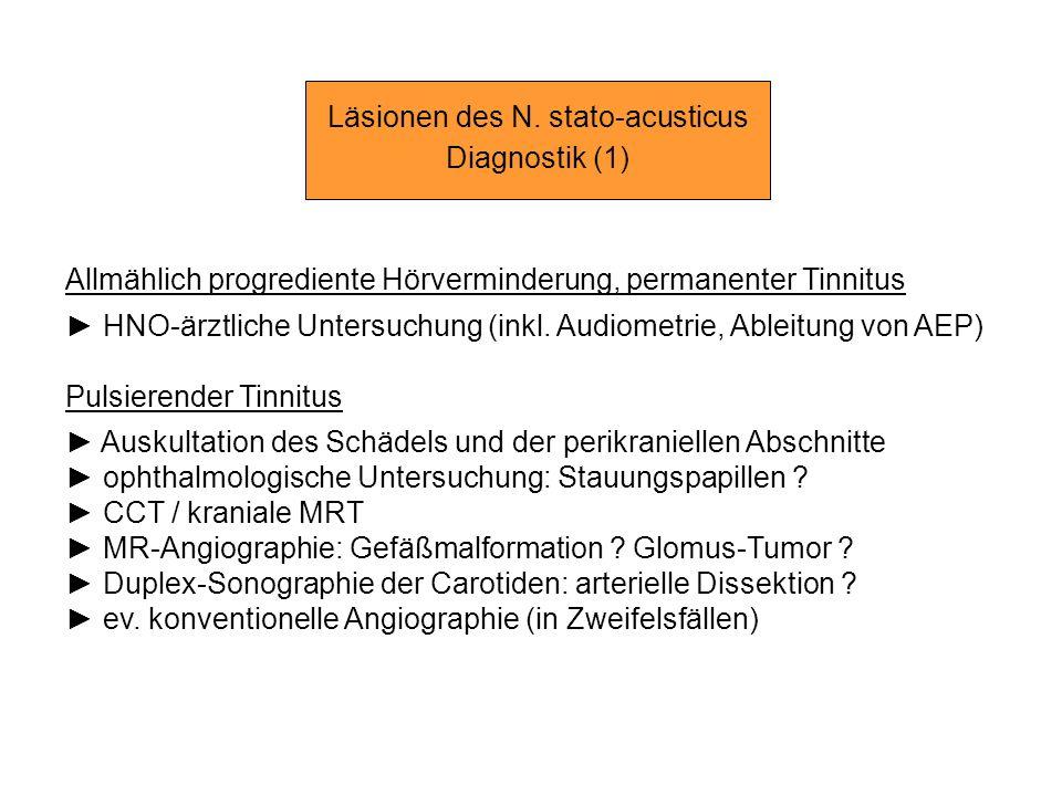 Läsionen des N. stato-acusticus Diagnostik (1) Allmählich progrediente Hörverminderung, permanenter Tinnitus HNO-ärztliche Untersuchung (inkl. Audiome