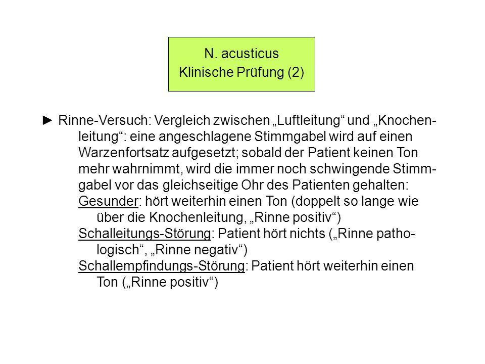 N. acusticus Klinische Prüfung (2) Rinne-Versuch: Vergleich zwischen Luftleitung und Knochen- leitung: eine angeschlagene Stimmgabel wird auf einen Wa