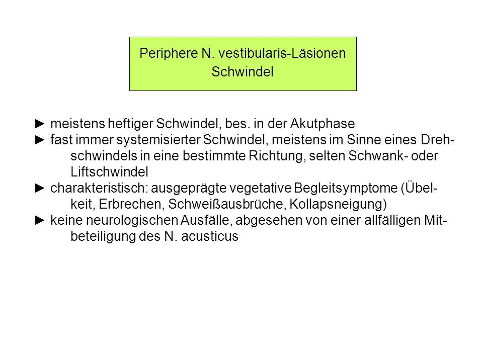 Periphere N. vestibularis-Läsionen Schwindel meistens heftiger Schwindel, bes. in der Akutphase fast immer systemisierter Schwindel, meistens im Sinne