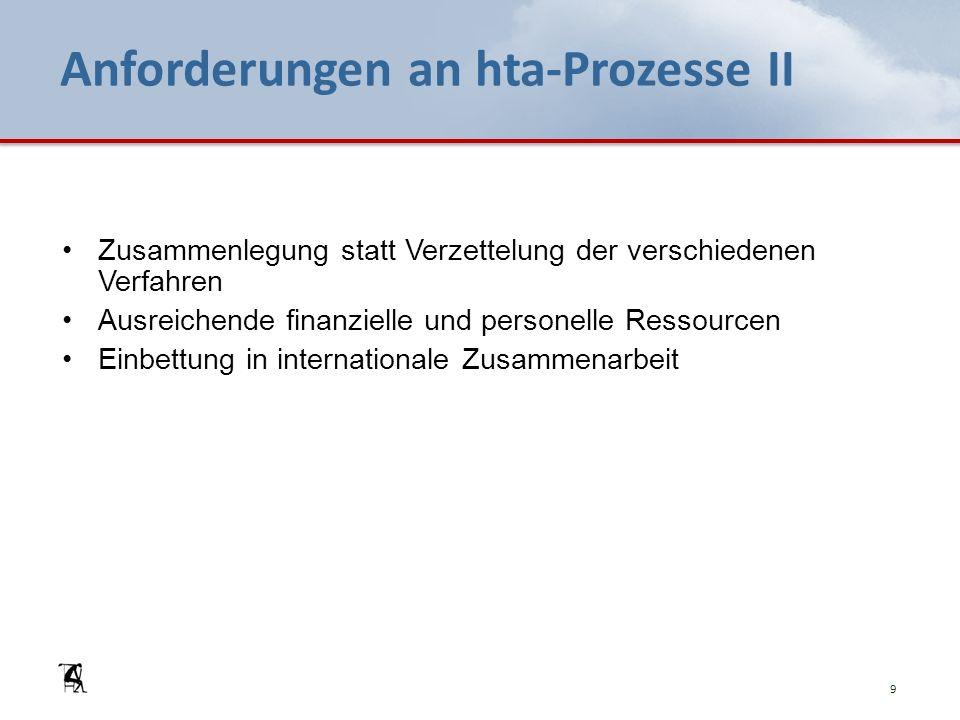 Anforderungen an hta-Prozesse II Zusammenlegung statt Verzettelung der verschiedenen Verfahren Ausreichende finanzielle und personelle Ressourcen Einbettung in internationale Zusammenarbeit 9
