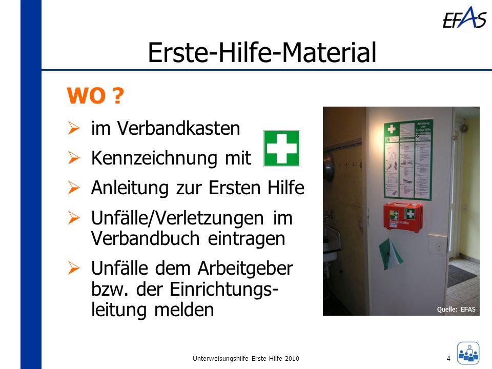 Unterweisungshilfe Erste Hilfe 2010 Erste-Hilfe-Material WO ? im Verbandkasten Kennzeichnung mit Anleitung zur Ersten Hilfe Unfälle/Verletzungen im Ve
