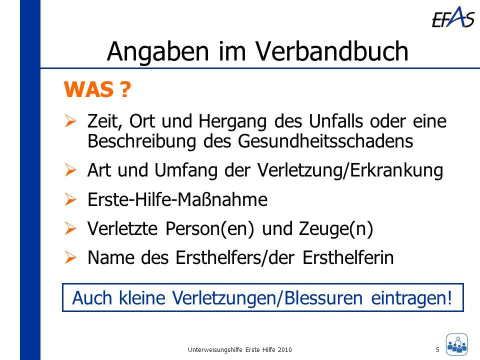 Unterweisungshilfe Erste Hilfe 2010 Angaben im Verbandbuch WAS .