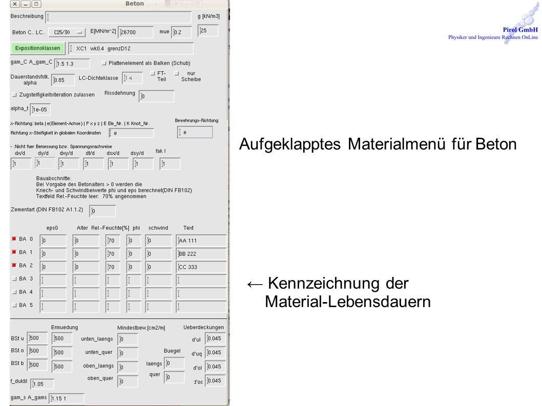 Aufgeklapptes Materialmenü für Beton Kennzeichnung der Material-Lebensdauern