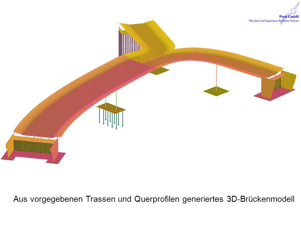 Aus vorgegebenen Trassen und Querprofilen generiertes 3D-Brückenmodell