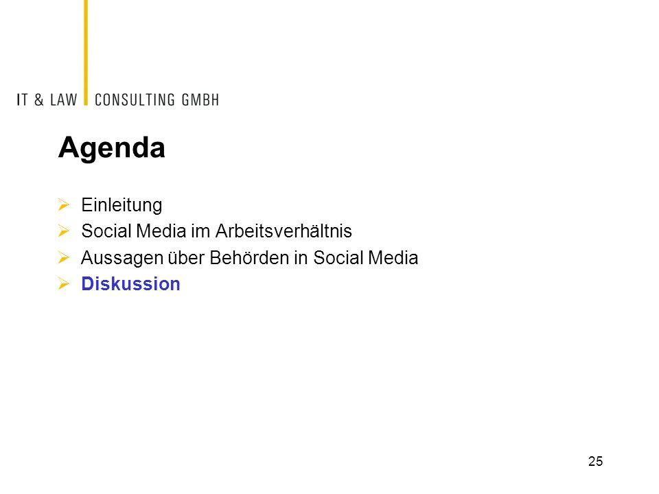Agenda Einleitung Social Media im Arbeitsverhältnis Aussagen über Behörden in Social Media Diskussion 25