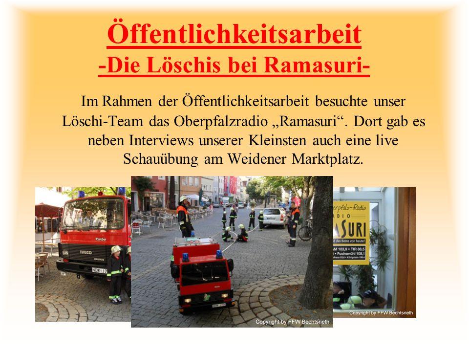 Führerscheinprüfung mit Verkehrsparcour Auch das Thema Sicherheit im Straßenverkehr wird bei den Bechtsriethern Löschis behandelt.