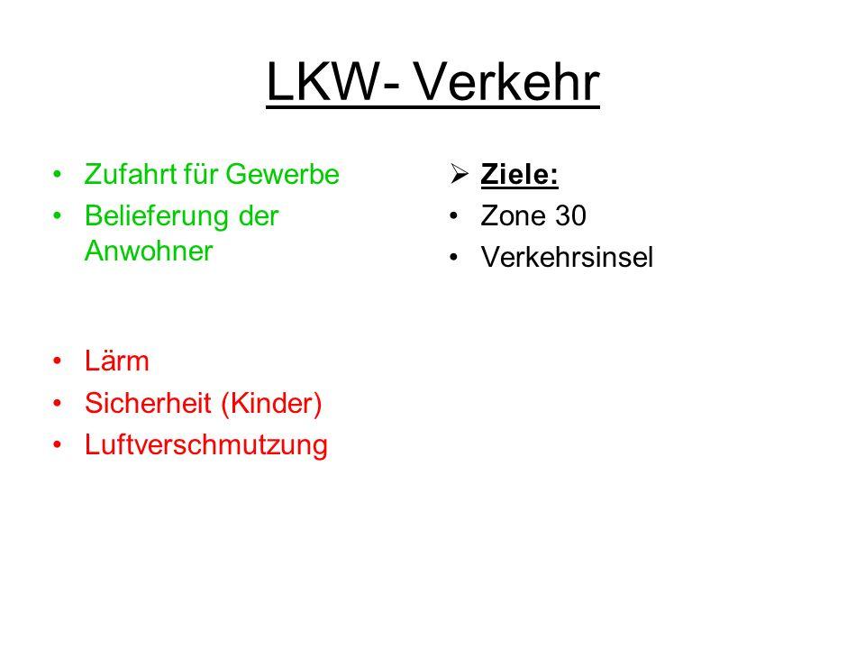 LKW- Verkehr Zufahrt für Gewerbe Belieferung der Anwohner Lärm Sicherheit (Kinder) Luftverschmutzung Ziele: Zone 30 Verkehrsinsel