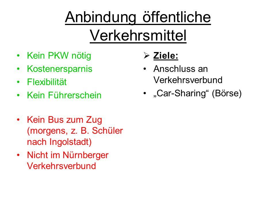 Anbindung öffentliche Verkehrsmittel Kein PKW nötig Kostenersparnis Flexibilität Kein Führerschein Kein Bus zum Zug (morgens, z.