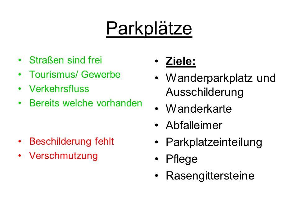 Parkplätze Straßen sind frei Tourismus/ Gewerbe Verkehrsfluss Bereits welche vorhanden Beschilderung fehlt Verschmutzung Ziele: Wanderparkplatz und Au