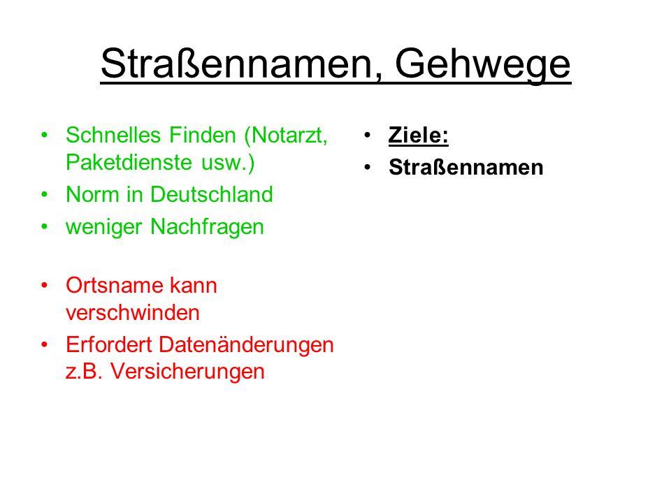 Straßennamen, Gehwege Schnelles Finden (Notarzt, Paketdienste usw.) Norm in Deutschland weniger Nachfragen Ortsname kann verschwinden Erfordert Datenä