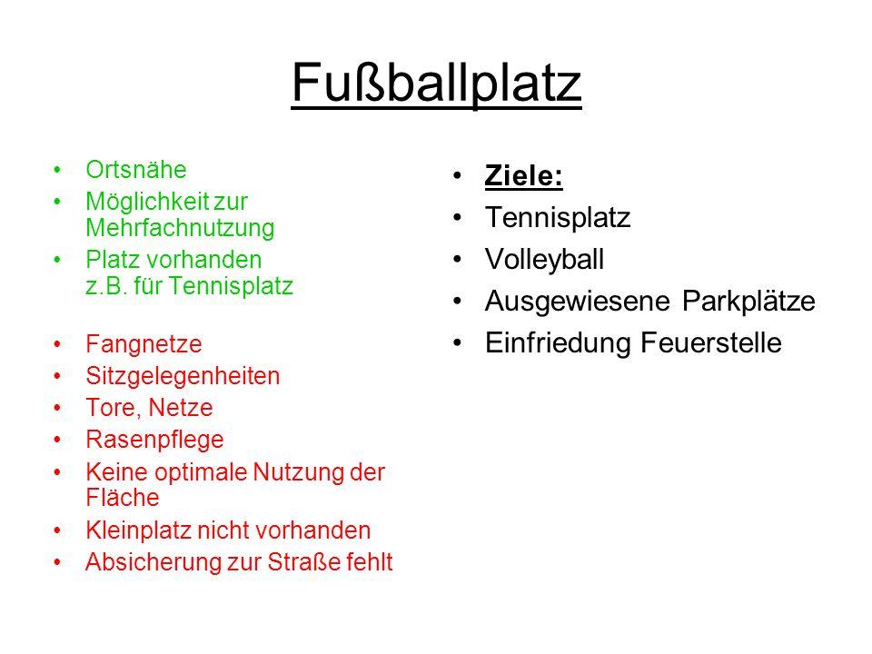 Fußballplatz Ortsnähe Möglichkeit zur Mehrfachnutzung Platz vorhanden z.B.