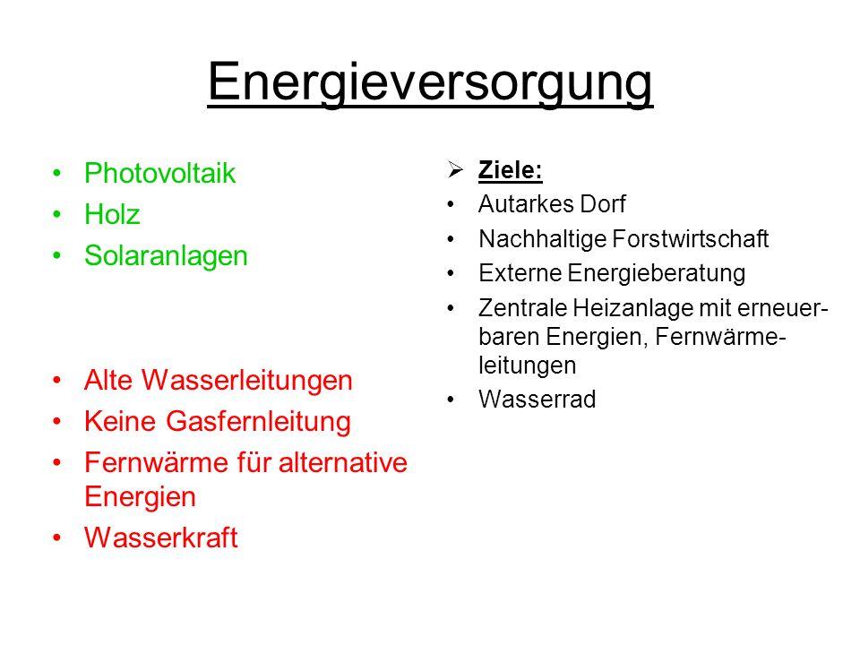 Energieversorgung Photovoltaik Holz Solaranlagen Alte Wasserleitungen Keine Gasfernleitung Fernwärme für alternative Energien Wasserkraft Ziele: Autar