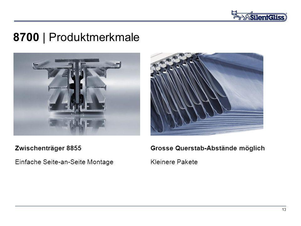 13 Grosse Querstab-Abstände möglich Kleinere Pakete Zwischenträger 8855 Einfache Seite-an-Seite Montage 8700 | Produktmerkmale