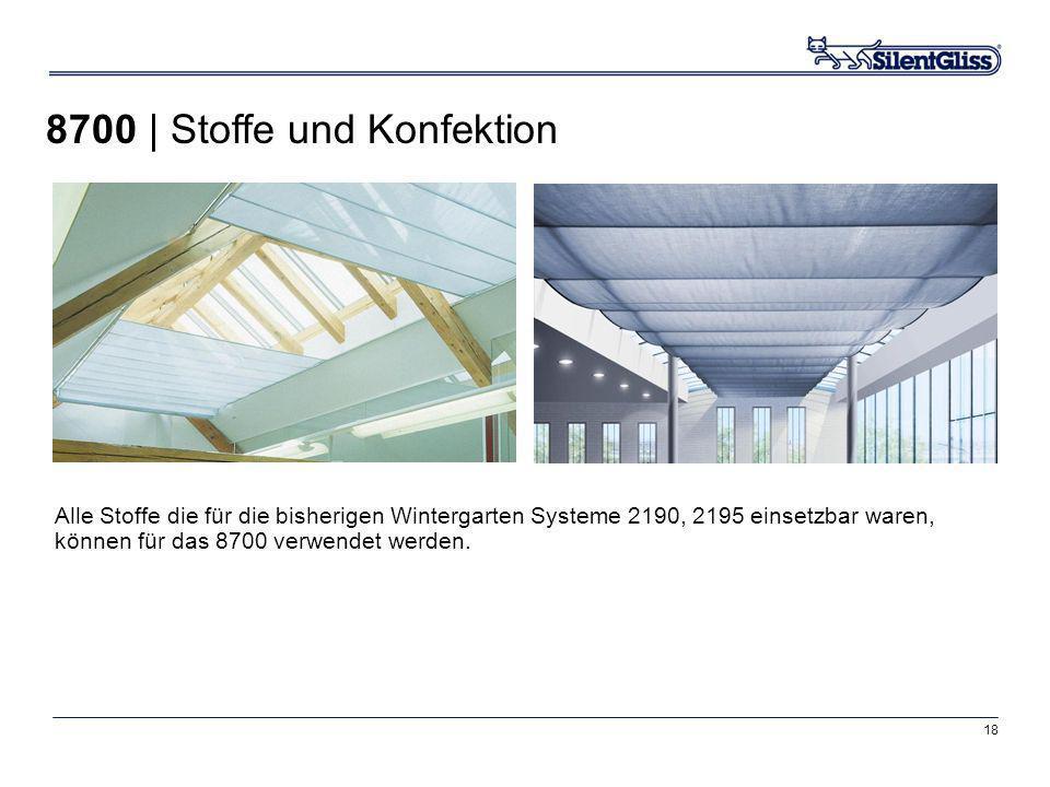 18 8700 | Stoffe und Konfektion Alle Stoffe die für die bisherigen Wintergarten Systeme 2190, 2195 einsetzbar waren, können für das 8700 verwendet wer