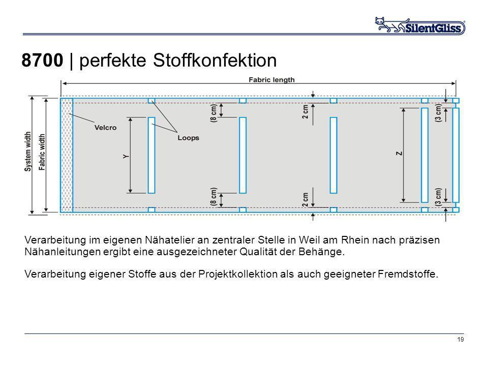 19 Verarbeitung im eigenen Nähatelier an zentraler Stelle in Weil am Rhein nach präzisen Nähanleitungen ergibt eine ausgezeichneter Qualität der Behän