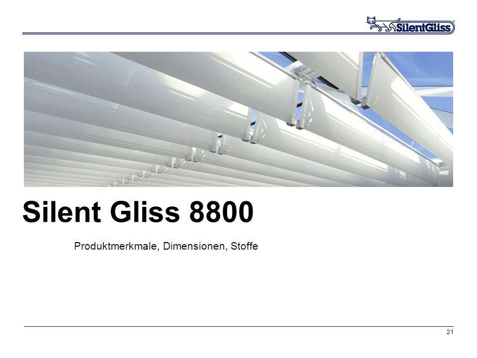 21 Silent Gliss 8800 Produktmerkmale, Dimensionen, Stoffe