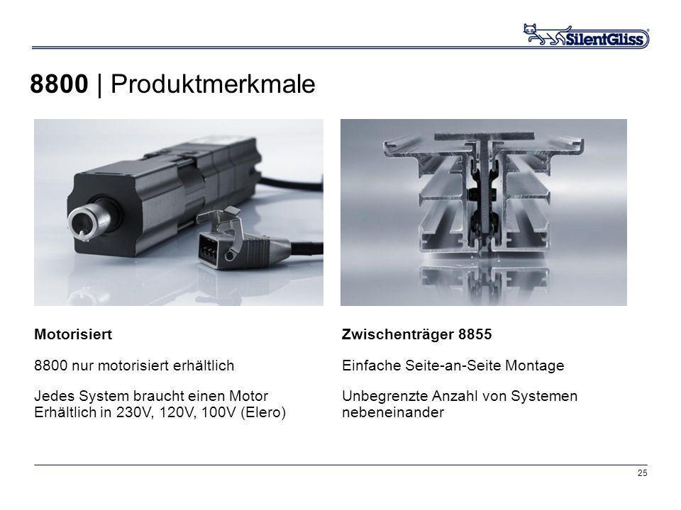 25 Motorisiert 8800 nur motorisiert erhältlich Jedes System braucht einen Motor Erhältlich in 230V, 120V, 100V (Elero) Zwischenträger 8855 Einfache Se