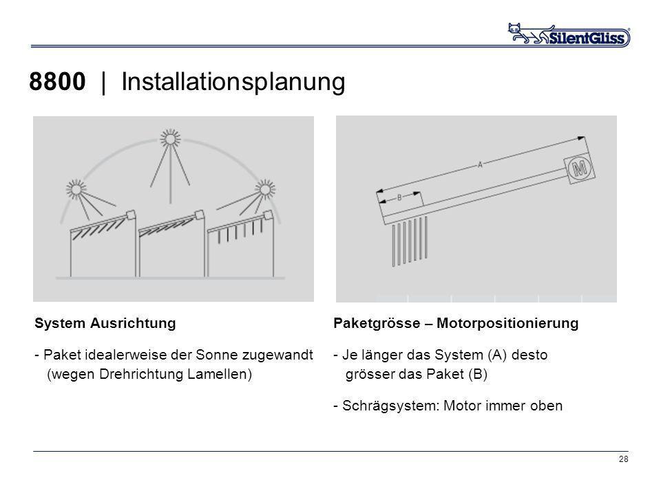 28 8800 | Installationsplanung System Ausrichtung - Paket idealerweise der Sonne zugewandt (wegen Drehrichtung Lamellen) Paketgrösse – Motorpositionie
